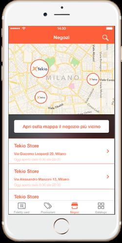 Tekio App loyalty, la fidelity per il retail innovativo, mobile e omnicanale per negozi, store locator
